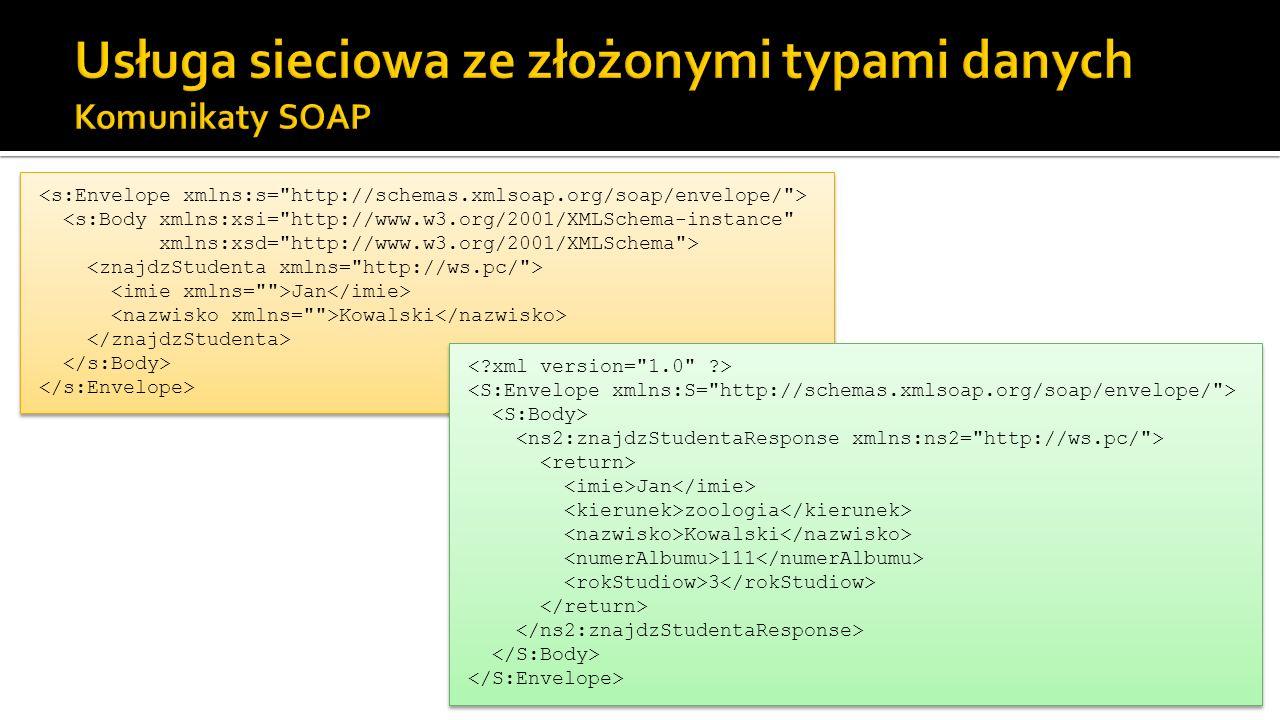 Usługa sieciowa ze złożonymi typami danych Komunikaty SOAP