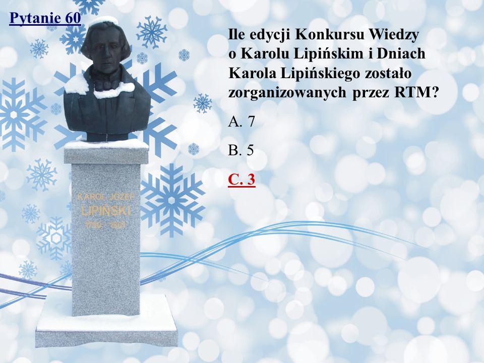 Pytanie 60 Ile edycji Konkursu Wiedzy o Karolu Lipińskim i Dniach Karola Lipińskiego zostało zorganizowanych przez RTM