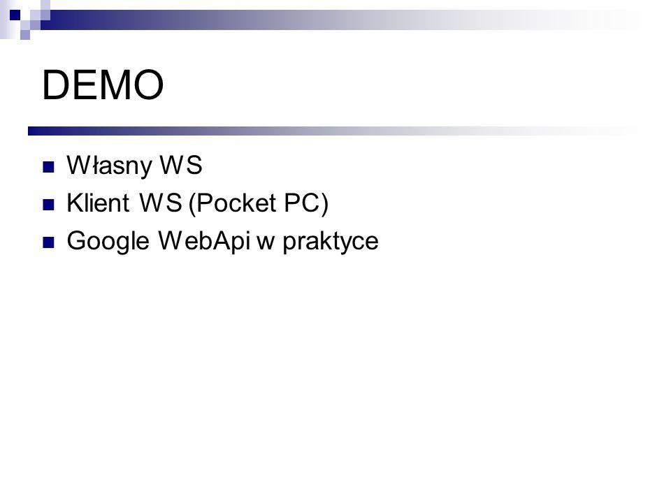 DEMO Własny WS Klient WS (Pocket PC) Google WebApi w praktyce