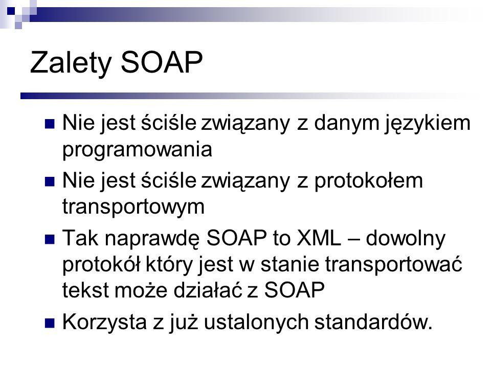 Zalety SOAP Nie jest ściśle związany z danym językiem programowania