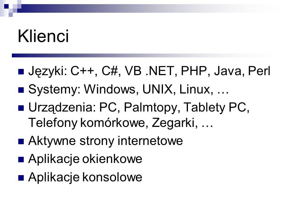 Klienci Języki: C++, C#, VB .NET, PHP, Java, Perl