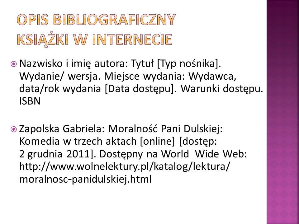 OPIS BIBLIOGRAFICZNY KSIĄŻKI W INTERNECIE