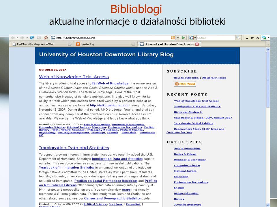 Biblioblogi aktualne informacje o działalności biblioteki