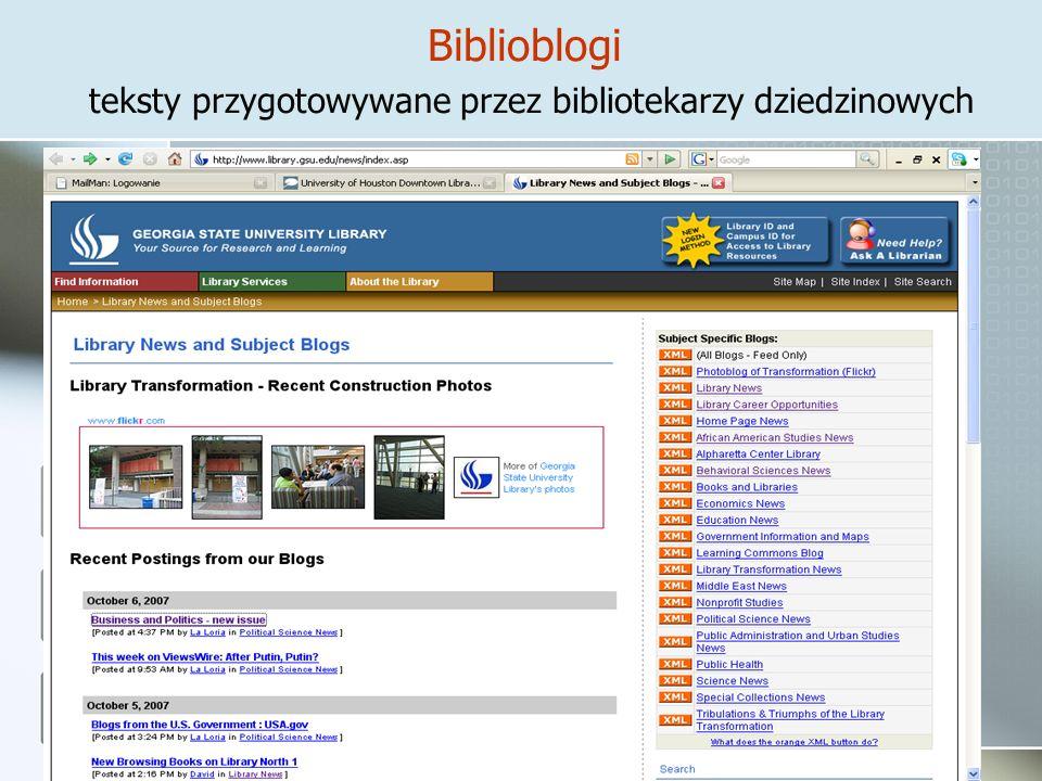 Biblioblogi teksty przygotowywane przez bibliotekarzy dziedzinowych
