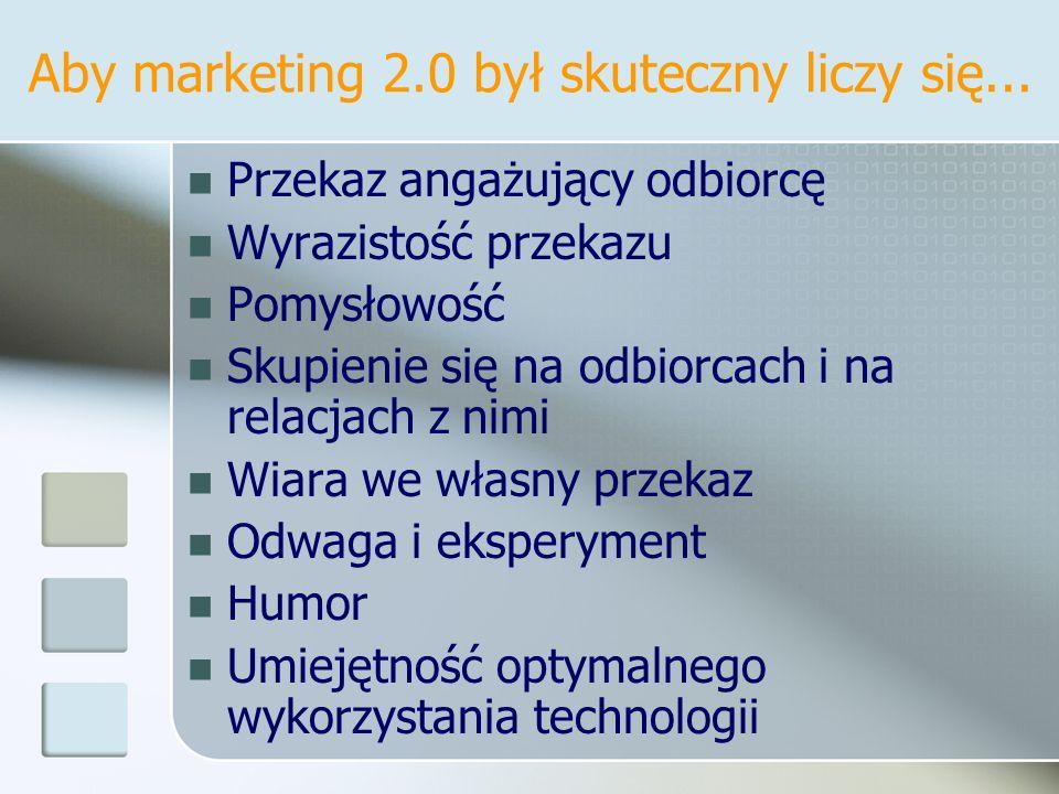 Aby marketing 2.0 był skuteczny liczy się...