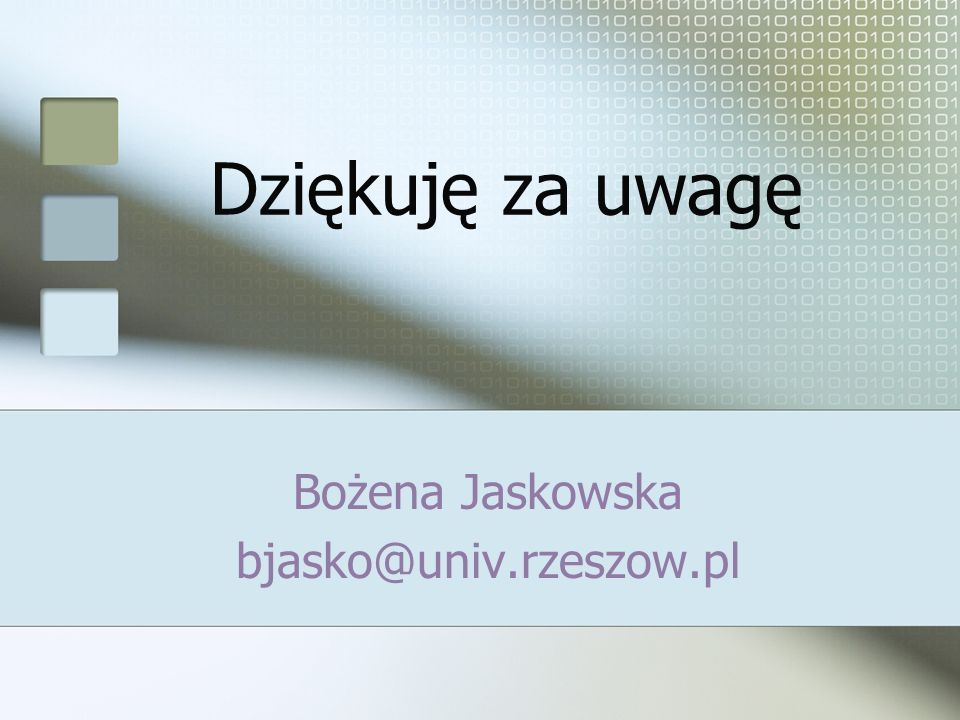 Bożena Jaskowska bjasko@univ.rzeszow.pl