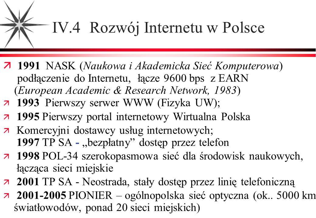 IV.4 Rozwój Internetu w Polsce