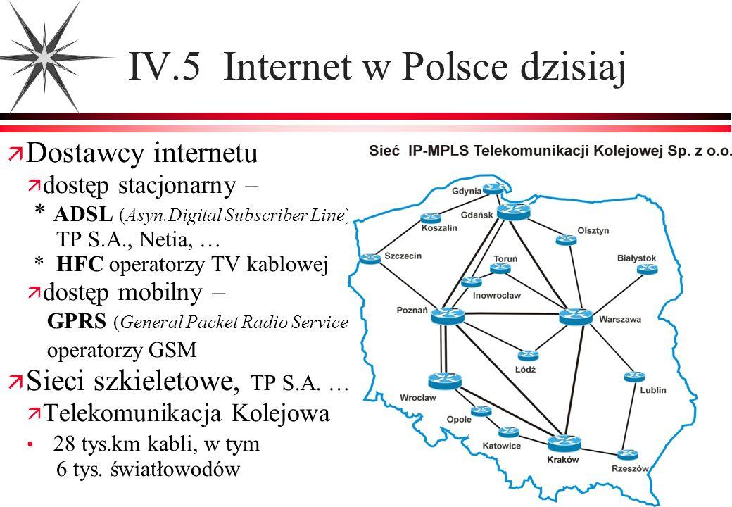 IV.5 Internet w Polsce dzisiaj