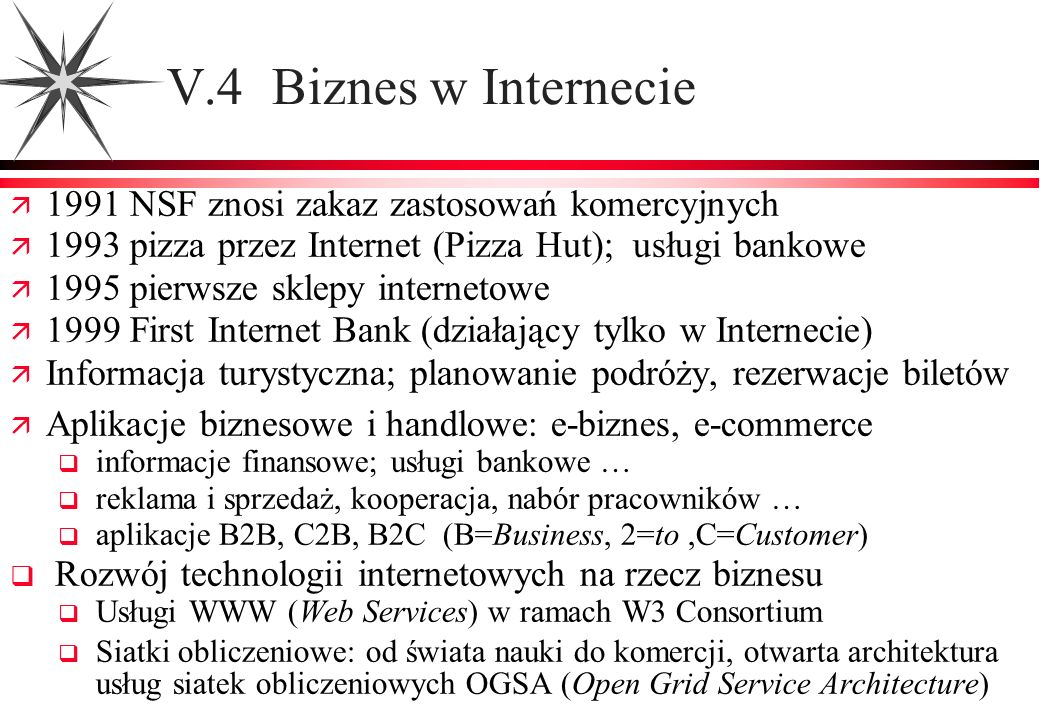 V.4 Biznes w Internecie 1991 NSF znosi zakaz zastosowań komercyjnych