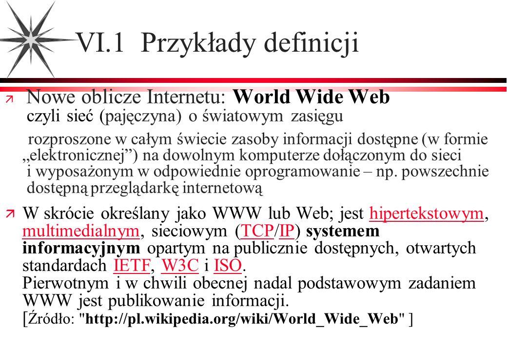 VI.1 Przykłady definicji