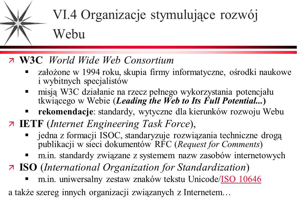 VI.4 Organizacje stymulujące rozwój Webu