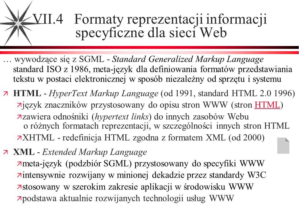 VII.4 Formaty reprezentacji informacji specyficzne dla sieci Web