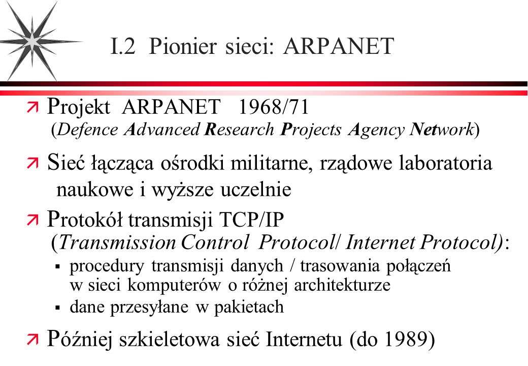 I.2 Pionier sieci: ARPANET
