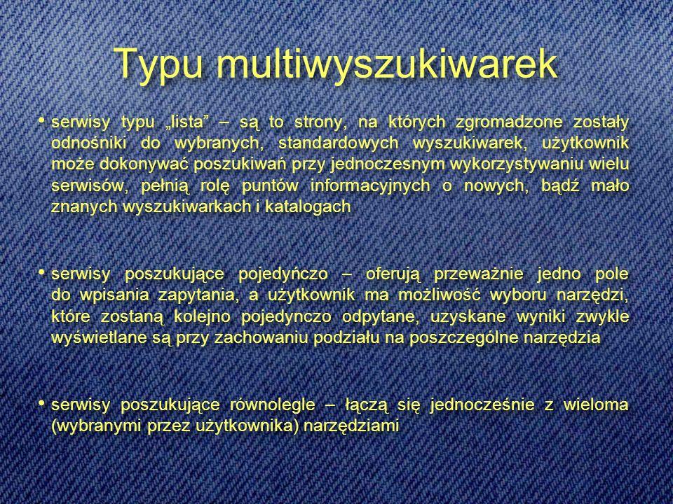 Typu multiwyszukiwarek