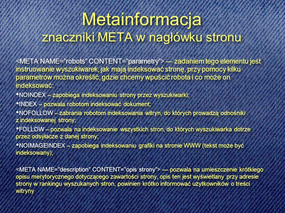 Metainformacja znaczniki META w nagłówku stronu
