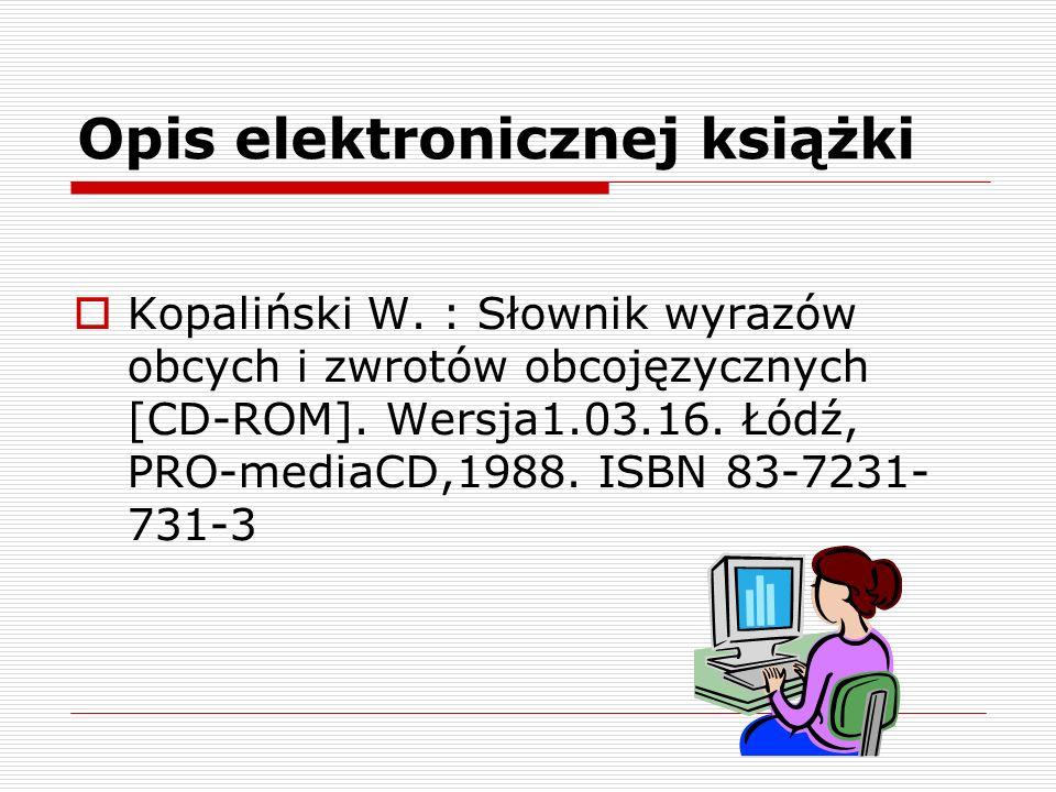 Opis elektronicznej książki