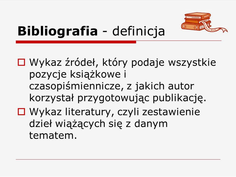 Bibliografia - definicja