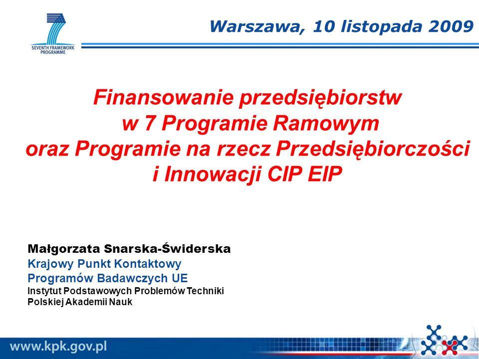 Finansowanie przedsiębiorstw w 7 Programie Ramowym