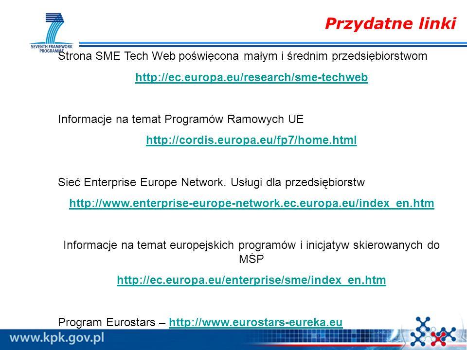 Przydatne linki Strona SME Tech Web poświęcona małym i średnim przedsiębiorstwom. http://ec.europa.eu/research/sme-techweb.