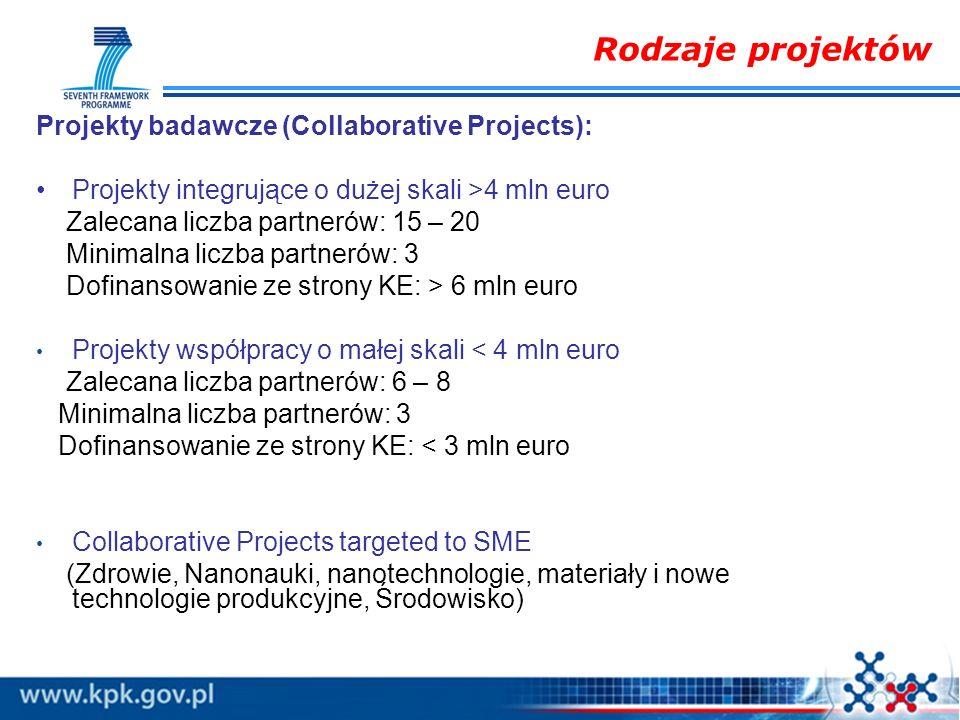 Rodzaje projektów Projekty badawcze (Collaborative Projects):