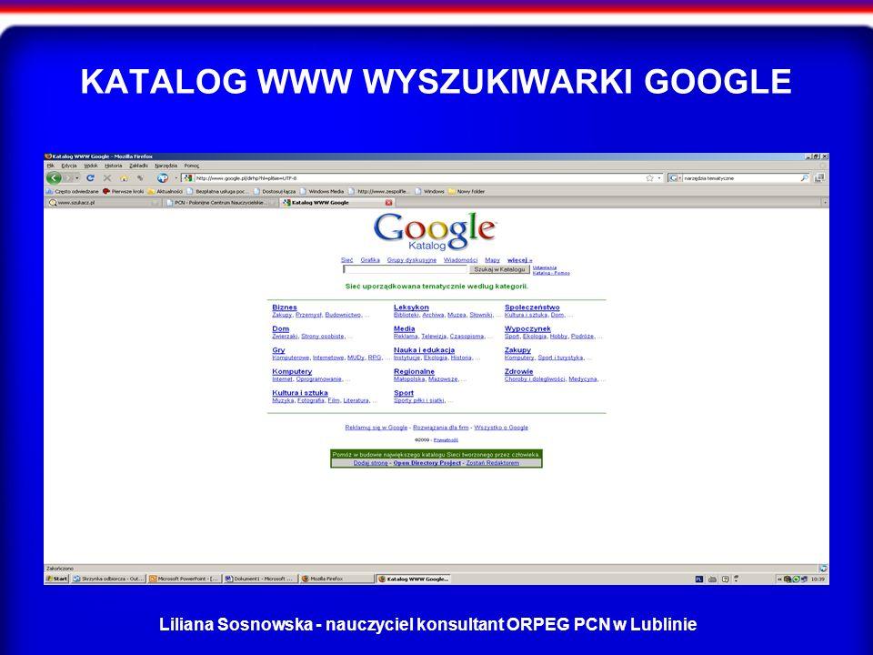 KATALOG WWW WYSZUKIWARKI GOOGLE