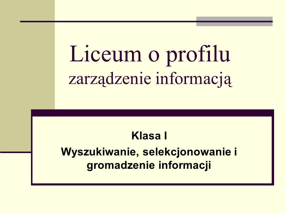 Liceum o profilu zarządzenie informacją