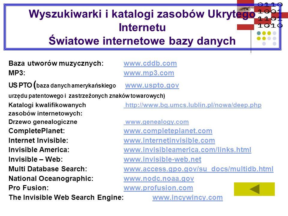 Wyszukiwarki i katalogi zasobów Ukrytego Internetu Światowe internetowe bazy danych
