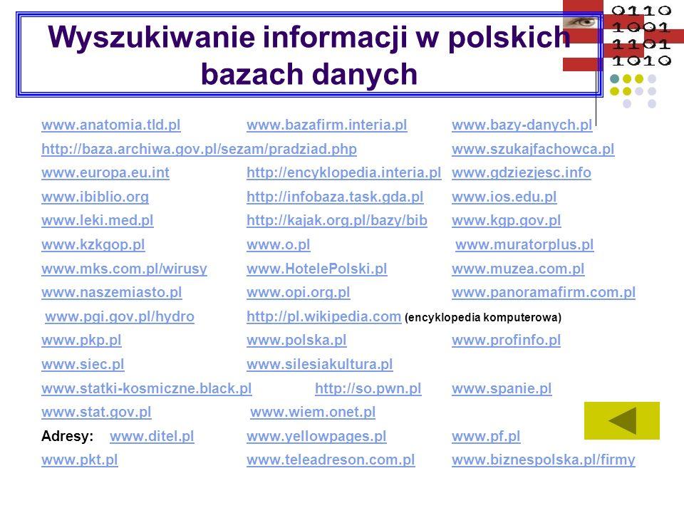 Wyszukiwanie informacji w polskich bazach danych