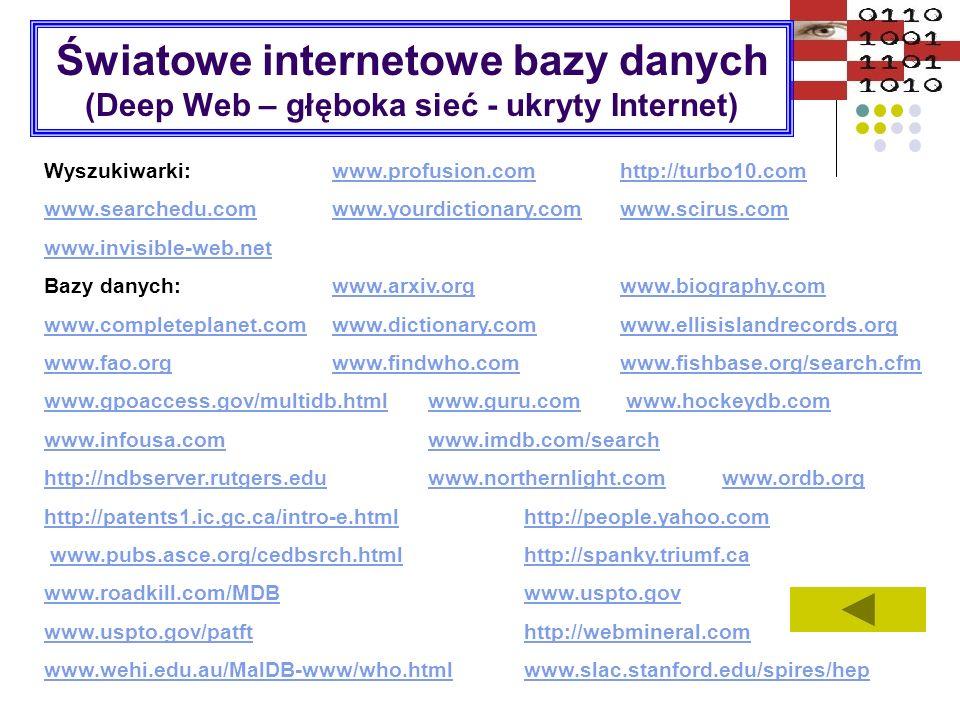 Światowe internetowe bazy danych (Deep Web – głęboka sieć - ukryty Internet)