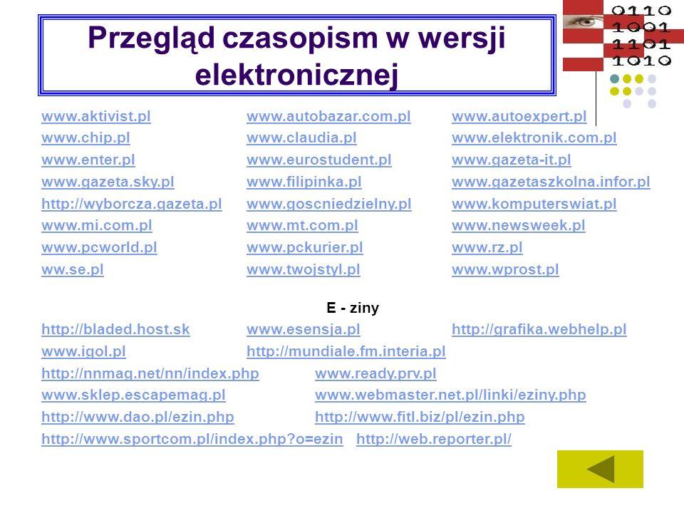 Przegląd czasopism w wersji elektronicznej