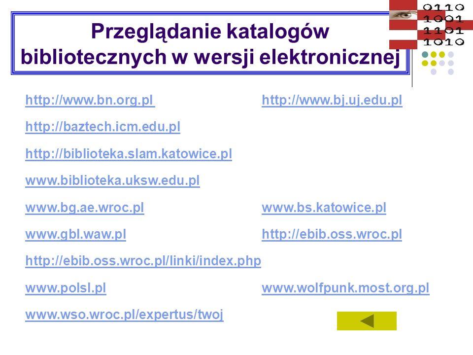 Przeglądanie katalogów bibliotecznych w wersji elektronicznej