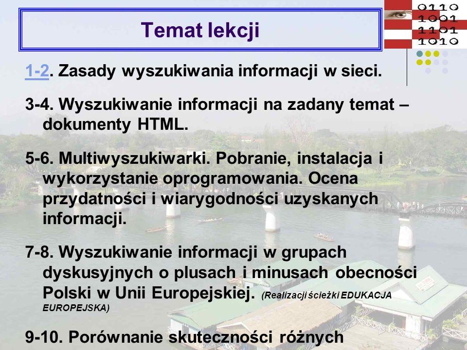 Temat lekcji 1-2. Zasady wyszukiwania informacji w sieci.