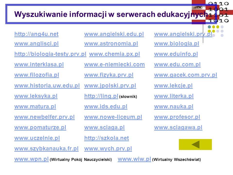 Wyszukiwanie informacji w serwerach edukacyjnych