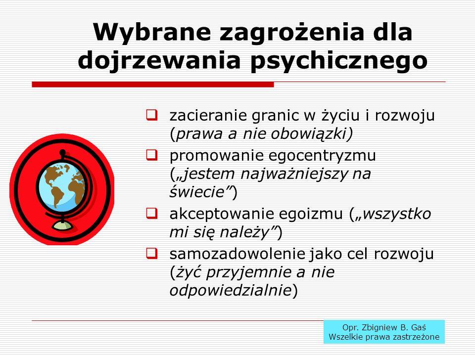 Wybrane zagrożenia dla dojrzewania psychicznego