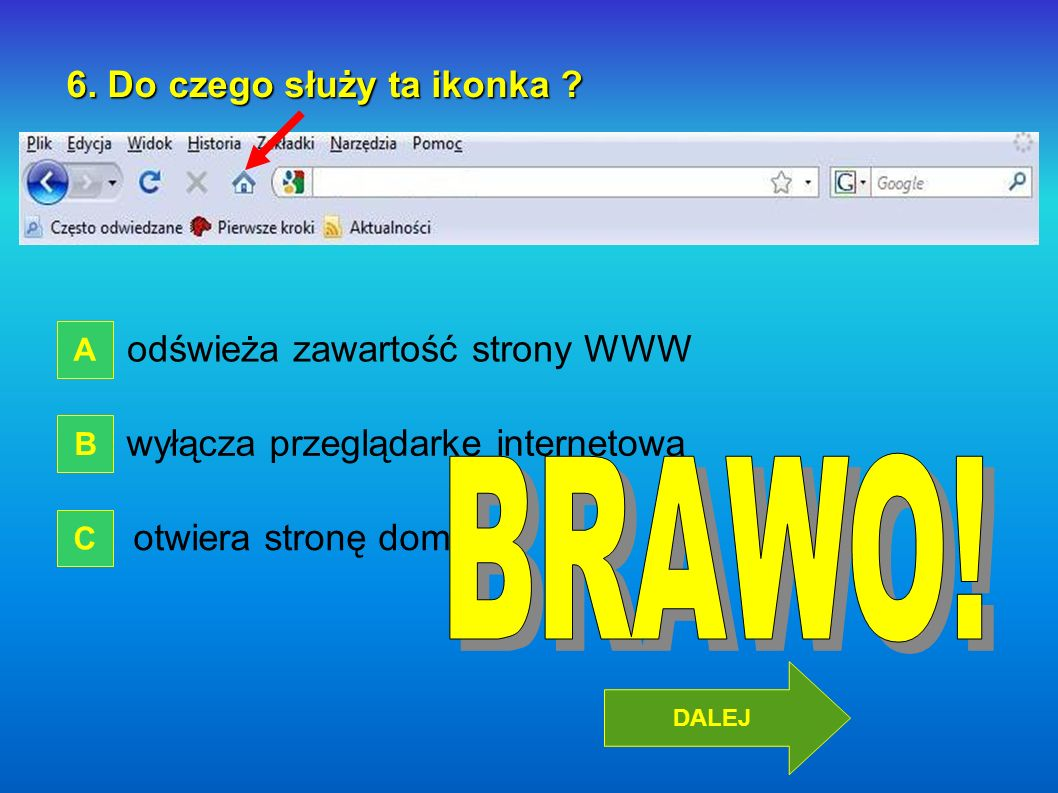 BRAWO! 6. Do czego służy ta ikonka odświeża zawartość strony WWW