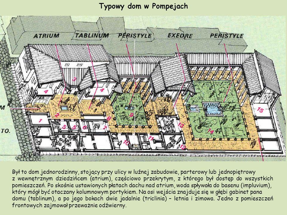 Typowy dom w Pompejach Był to dom jednorodzinny, stojący przy ulicy w luźnej zabudowie, parterowy lub jednopiętrowy.