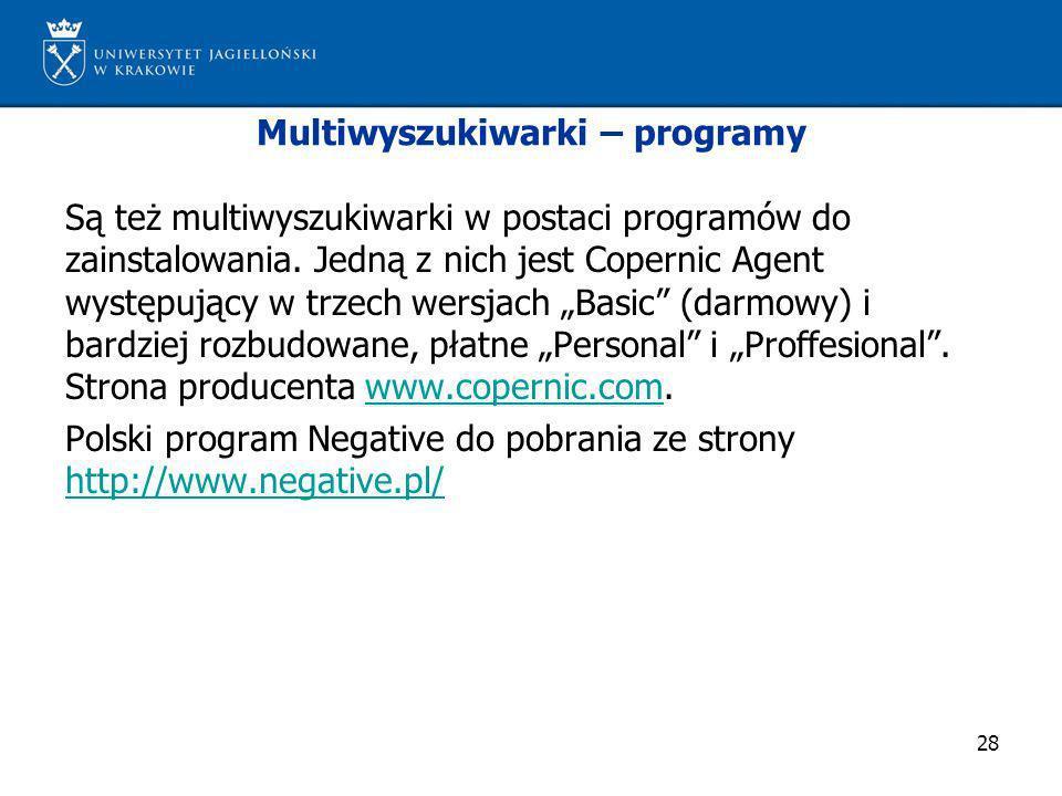 Multiwyszukiwarki – programy