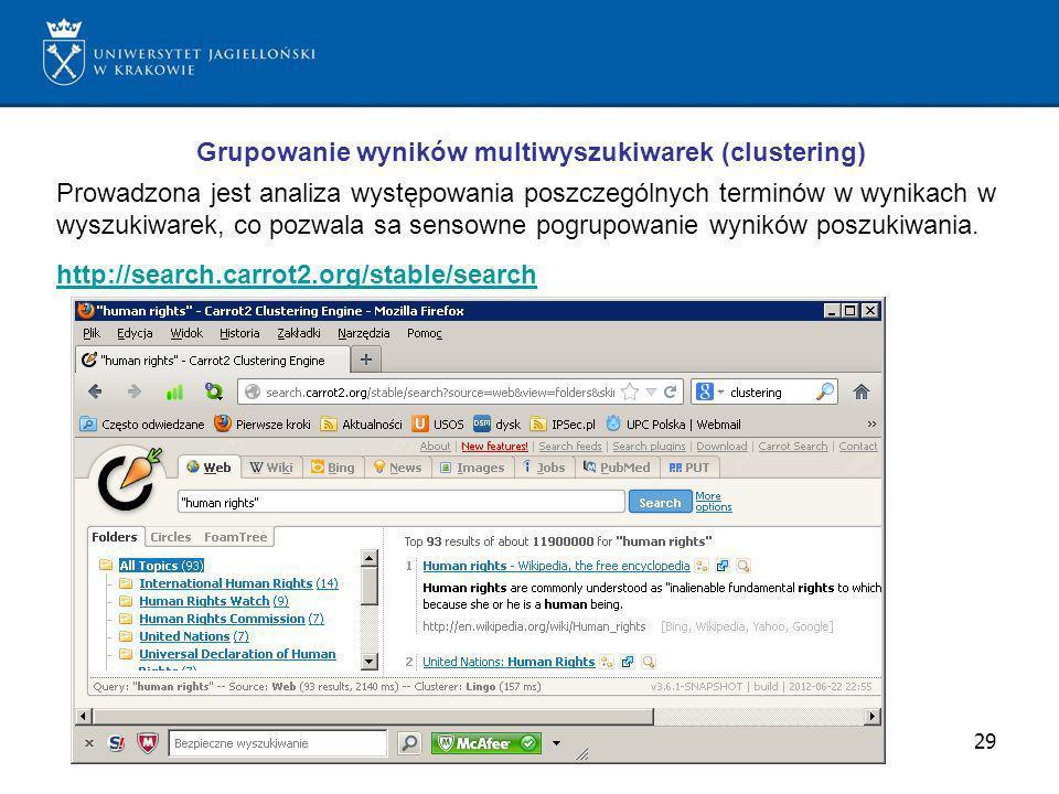 Grupowanie wyników multiwyszukiwarek (clustering)