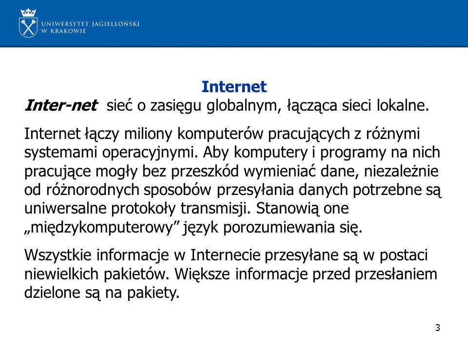 Internet Inter-net sieć o zasięgu globalnym, łącząca sieci lokalne.