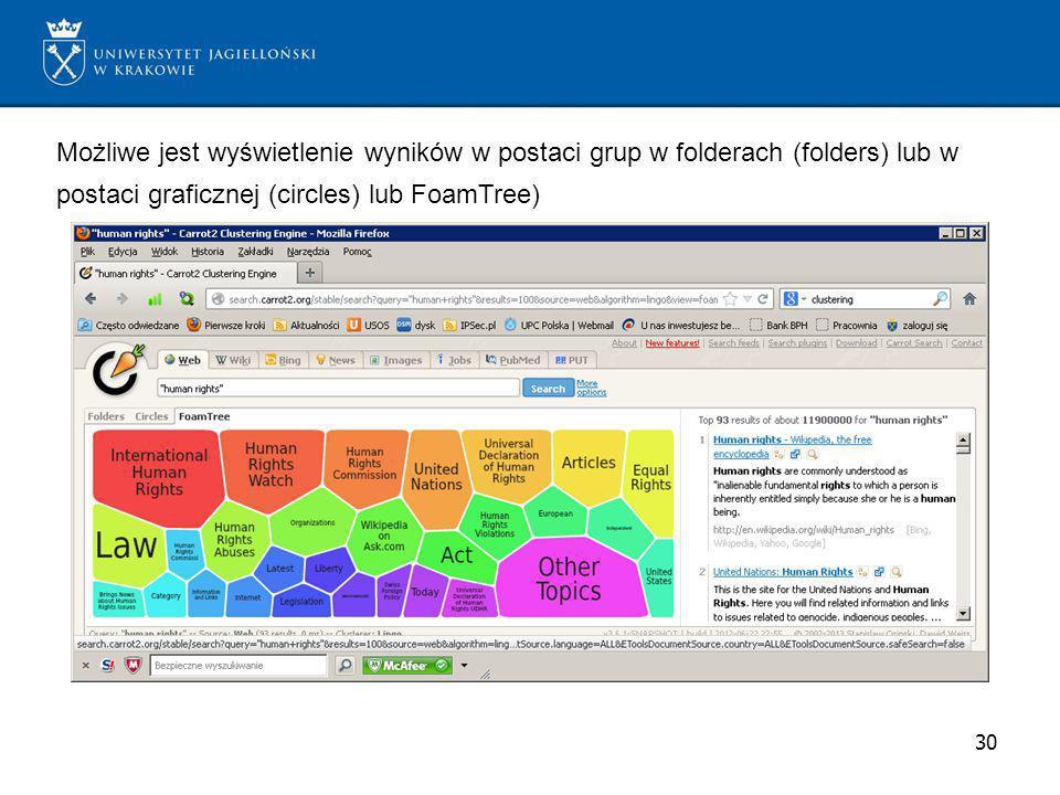 Możliwe jest wyświetlenie wyników w postaci grup w folderach (folders) lub w postaci graficznej (circles) lub FoamTree)