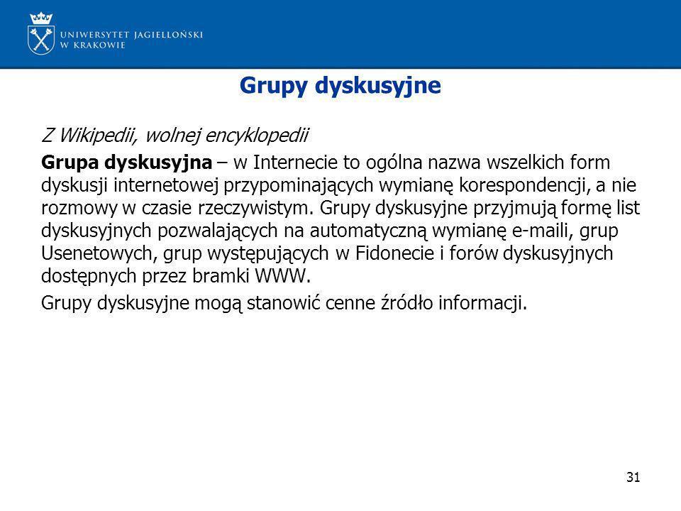 Grupy dyskusyjne Z Wikipedii, wolnej encyklopedii