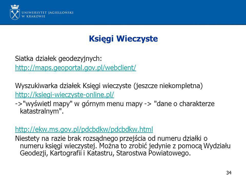 Księgi Wieczyste Siatka działek geodezyjnych: