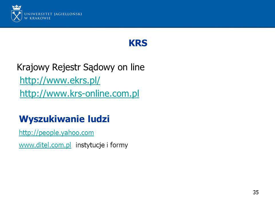 Krajowy Rejestr Sądowy on line http://www.ekrs.pl/