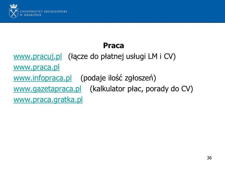 Praca www. pracuj. pl (łącze do płatnej usługi LM i CV) www. praca