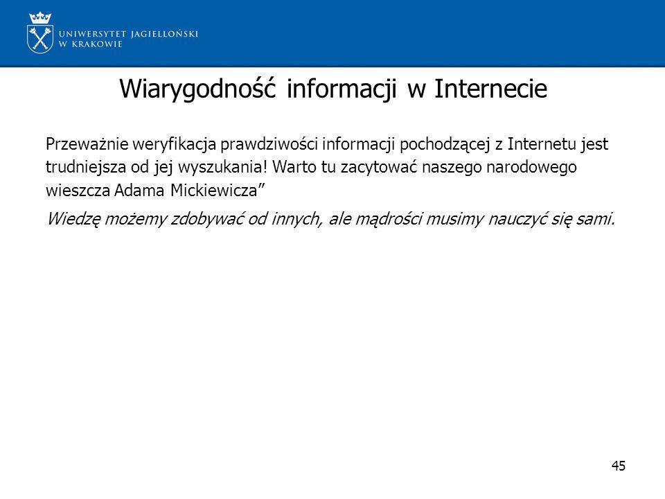 Wiarygodność informacji w Internecie