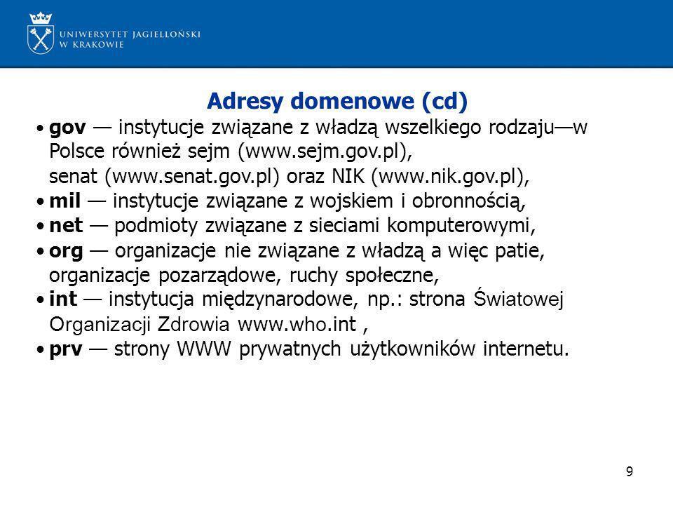 Adresy domenowe (cd)