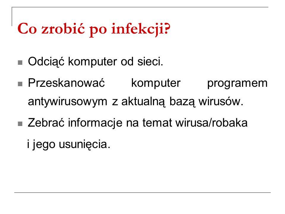 Co zrobić po infekcji Odciąć komputer od sieci.