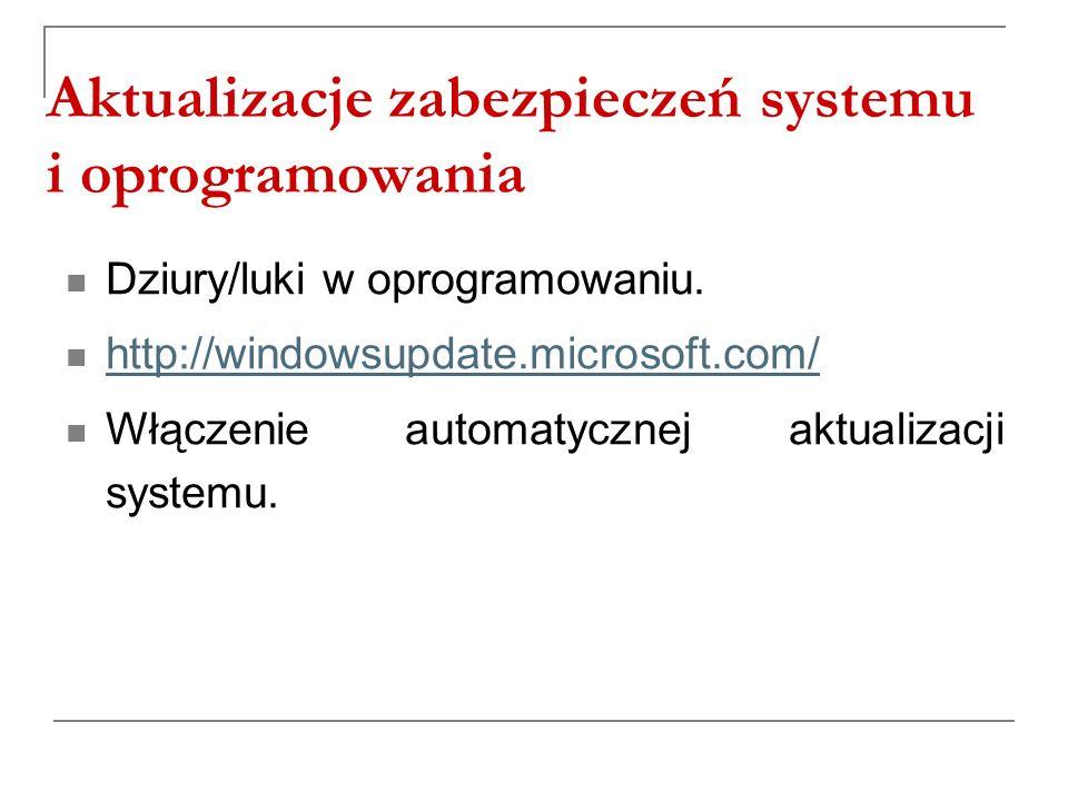 Aktualizacje zabezpieczeń systemu i oprogramowania