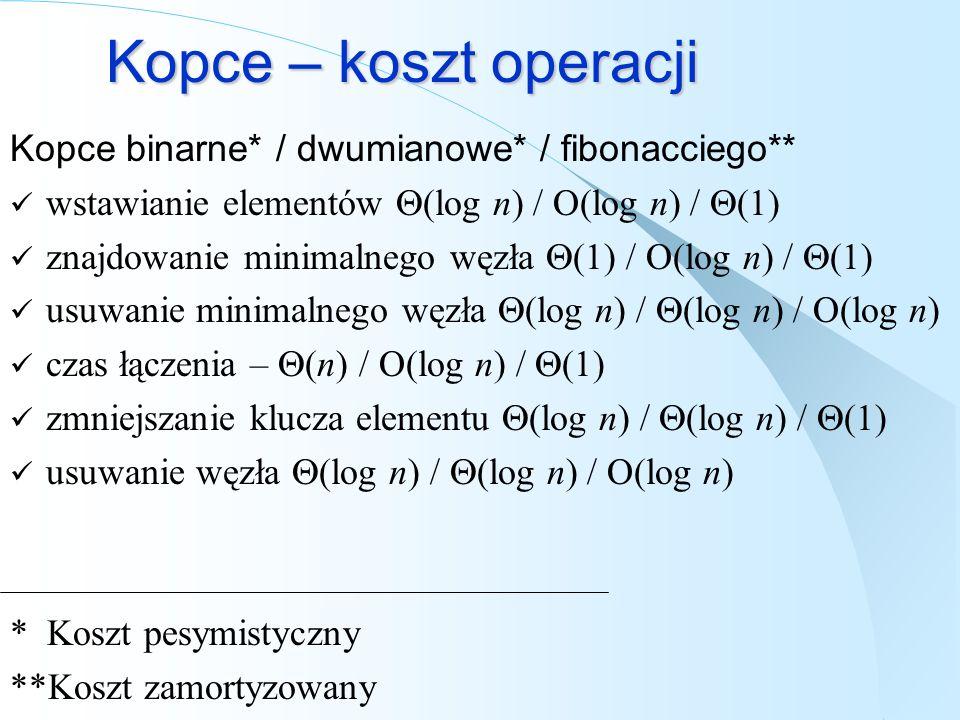 Kopce – koszt operacji Kopce binarne* / dwumianowe* / fibonacciego**