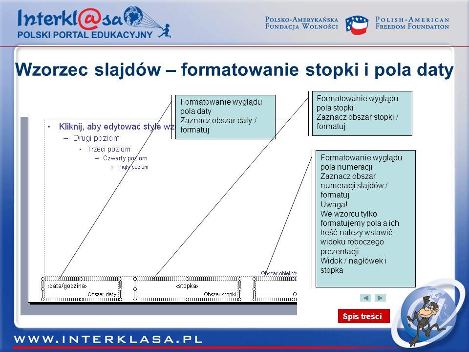 Wzorzec slajdów – formatowanie stopki i pola daty